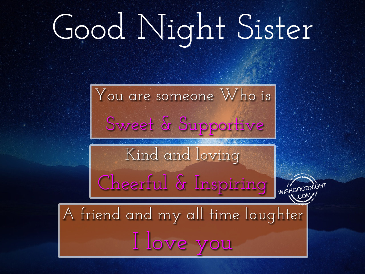 Good Night Wishes For Sister - Good Night Pictures ...