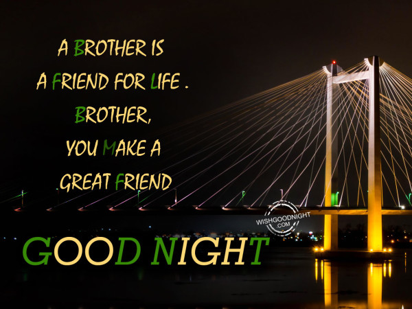 A brother is a friend for life. Good Night