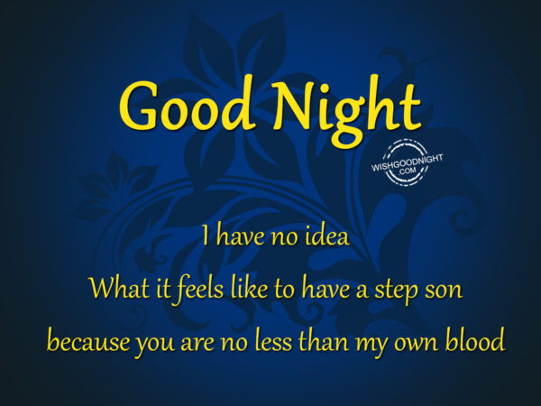 You are no less than my old blood, Good Night Son