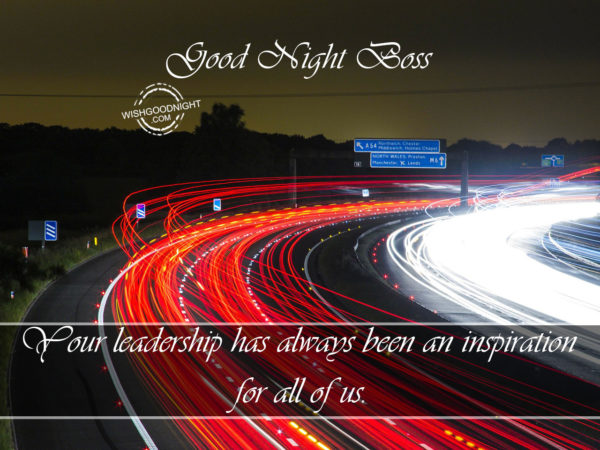 Your leadership is inspirational, Good Night Boss